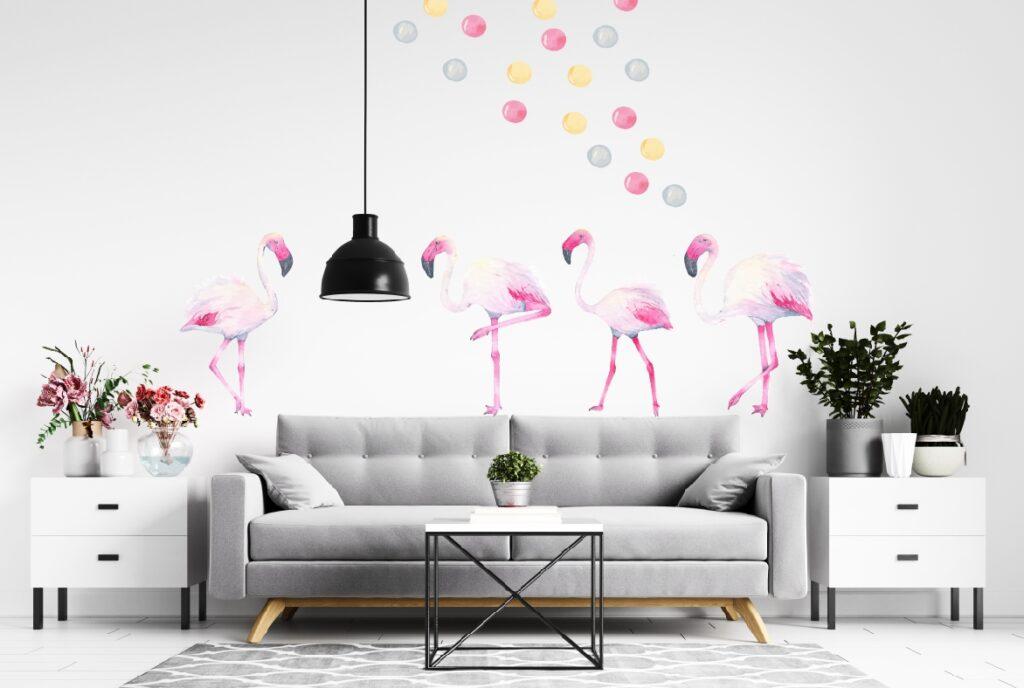 Pastelowe flamingi.
