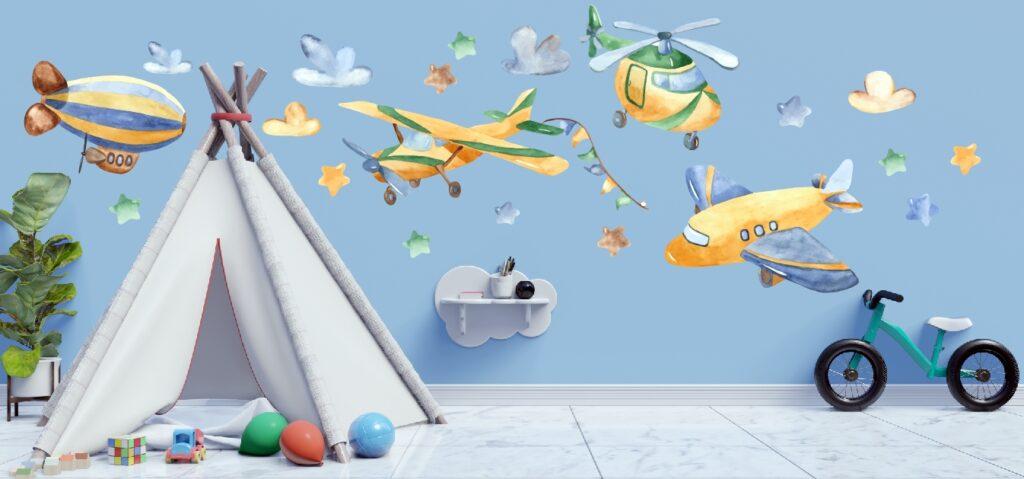 Zestaw samoloty, chmurki, balony,gwiazdki.